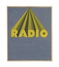 radio on royal blue by ed ruscha