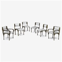 sculptured metal dining chairs, model pe-105 (set of 6) by paul evans