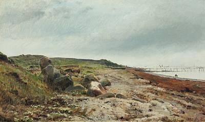 strandparti fra helgenæs by janus andreas barthotin la cour