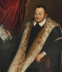 portrait of francesco i de medici, three-quarter-length, in black costume with fur trim, holding a letter, seated before a red curtain by scipione pulzone