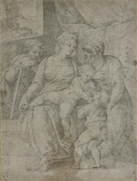 the holy family with saint elizabeth and the infant baptist by giulio clovio