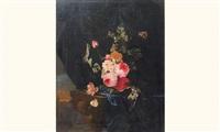nature morte de fleurs retenues par un ruban bleu au dessus d'une console by ottmar elliger the elder