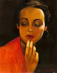 visage de femme aux boucles d'oreilles rouges by francis picabia