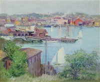 summer day, gloucester harbor by alice judson