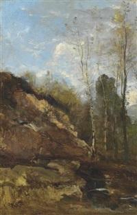 bouleaux au bord d'une rivière by jean-baptiste-camille corot