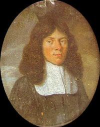 a gentleman with long brown hair, wearing black robes and lace lawn collar by gaspar (smits, smith) smitz