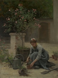 potting flowers by edouard bernard debat-ponsan