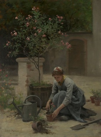 potting flowers by edouard bernard debat ponsan