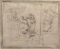 une femme assise se faisant couper les cheveux, des figures au fond by francesco (da gubbio) allegrini