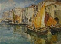 venezia, barche lungo il canale by angelo brombo