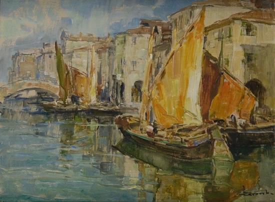 venezia barche lungo il canale by angelo brombo