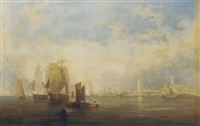 shipping in the harbour, south shields by john wilson ewbank
