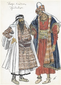 costume designs for the salesmen from peter khlebnik by aleksandr yakovlevich golovin