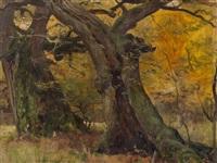 oak trees in a park by eugen felix prosper bracht