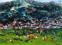 hillside landscape with village and field workers by guglielmo sansoni