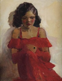 girl in red dress by laura wheeler waring