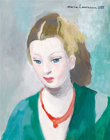 portrait de jeune fille à la robe verte by marie laurencin