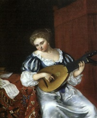 une joueuse de luth by willem verschuring the younger