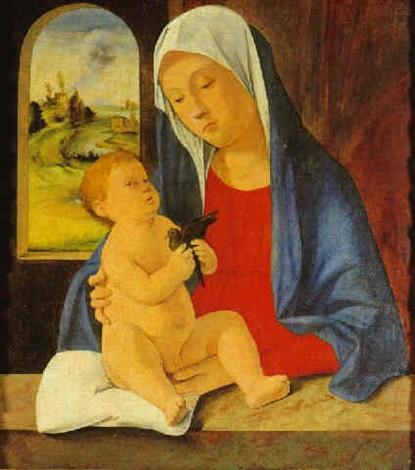 madonna col bambino che tiene in mano un uccellino by marco basaiti