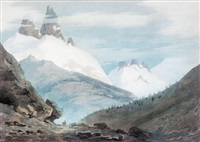 between chamonix and martigny - the aiguille verte by john robert cozens