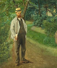 a farmer is smoking his pibe in the shadow by laurits andersen ring