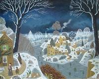 paysage hivernal de nuit by alain thomas