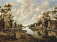 vue de village animé avec rivière by joost cornelisz droochsloot
