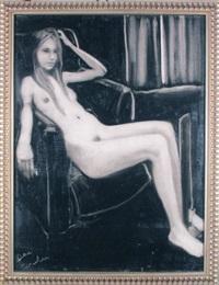 seated nude girl by joe andoe