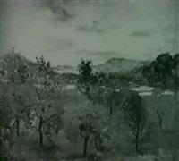 landschaft mit baumen, im                  hintergrund ein see by rudolf mülli