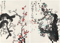 梅花 (plum) (2 works, various sizes) by deng lin