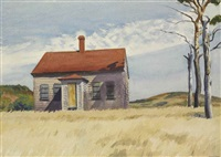 house with dead trees by edward hopper
