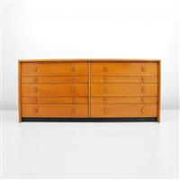 dresser with x form handles and ten drawers by paul t. frankl