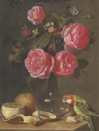 roses in a glass vase, a partly-peeled lemon and a parrot on a ledge by ambrosius bosschaert the younger