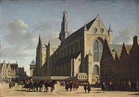 the grote markt, haarlem, looking south-east, with saint bavo's cathedral by gerrit adriaensz berckheyde