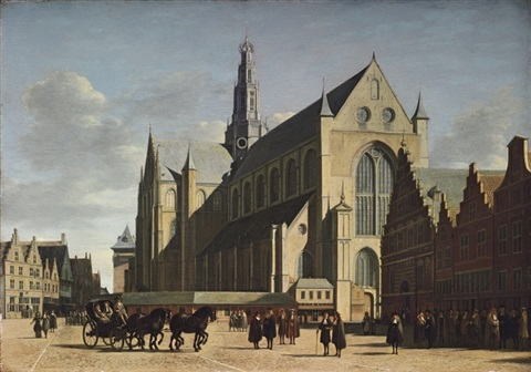 the grote markt haarlem looking south east with saint bavos cathedral by gerrit adriaensz berckheyde