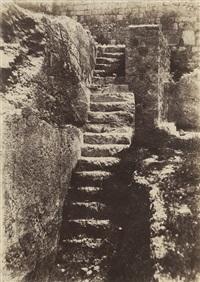 jérusalem, escalier antique taillé dans le roc by auguste salzmann