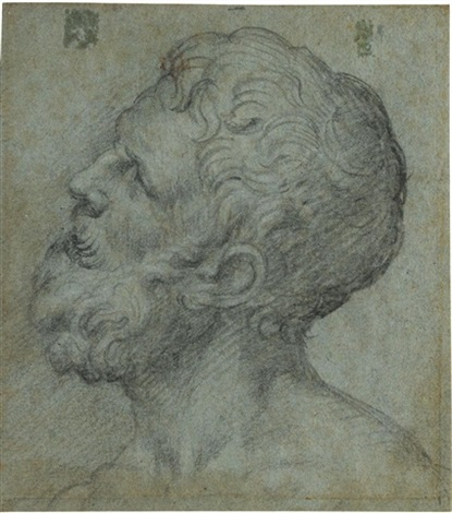 head of a man looking upwards to the left by giuseppe salviati porta