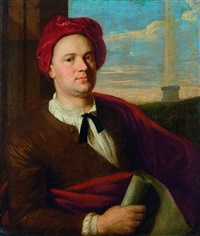 porträt eines architekten mit karminroter kappe und papierrolle (giovanni antinori, architect?) by stefano tofanelli