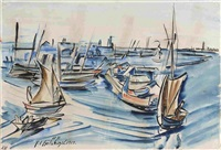 segelschiffe im hafen by peter august böckstiegel