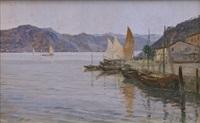 veduta costiera con barche e caseggiati by marcello vianello