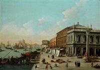 venise le palais des doges et le quai des esclavons; l'entrée du grand canal vue du quai des esclavons (pair) by giovanni migliara