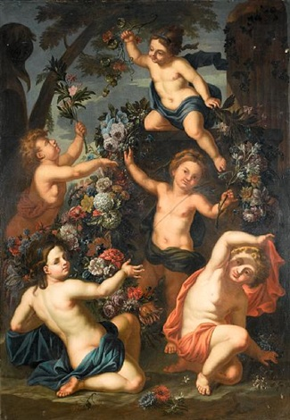 putti amid garlands of flowers another irgr pair by gaspar pieter verbrüggen the elder