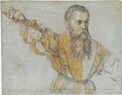 a bearded man wearing a quartered doublet gesturing to the left by giuseppe salviati porta
