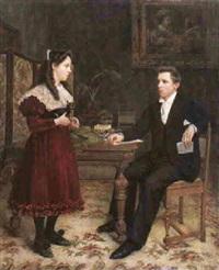 interieur met een jongedame en een jongeheer by victor anthonis