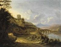 paesaggio fluviale con un ponte fortificato e un mausoleo by horatius de hooch