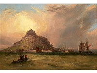 a sloop of the royal navy entering the harbour at st. michael's mount by william (of plymouth) williams