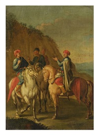 landscape with four riders by carel van falens