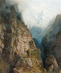 wanderer im gebirge by franz adolf christian müller