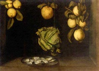 apples, lemons and a cauliflower hanging over a plate of oysters by paul karslake