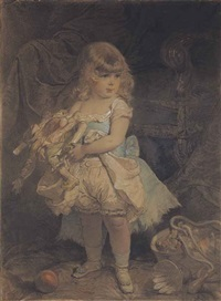 child with doll by mihály von zichy